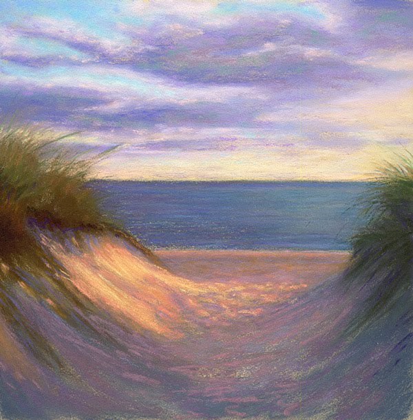Pastel Painting: To Cape Cod Bay Coastal Painting By Poucher