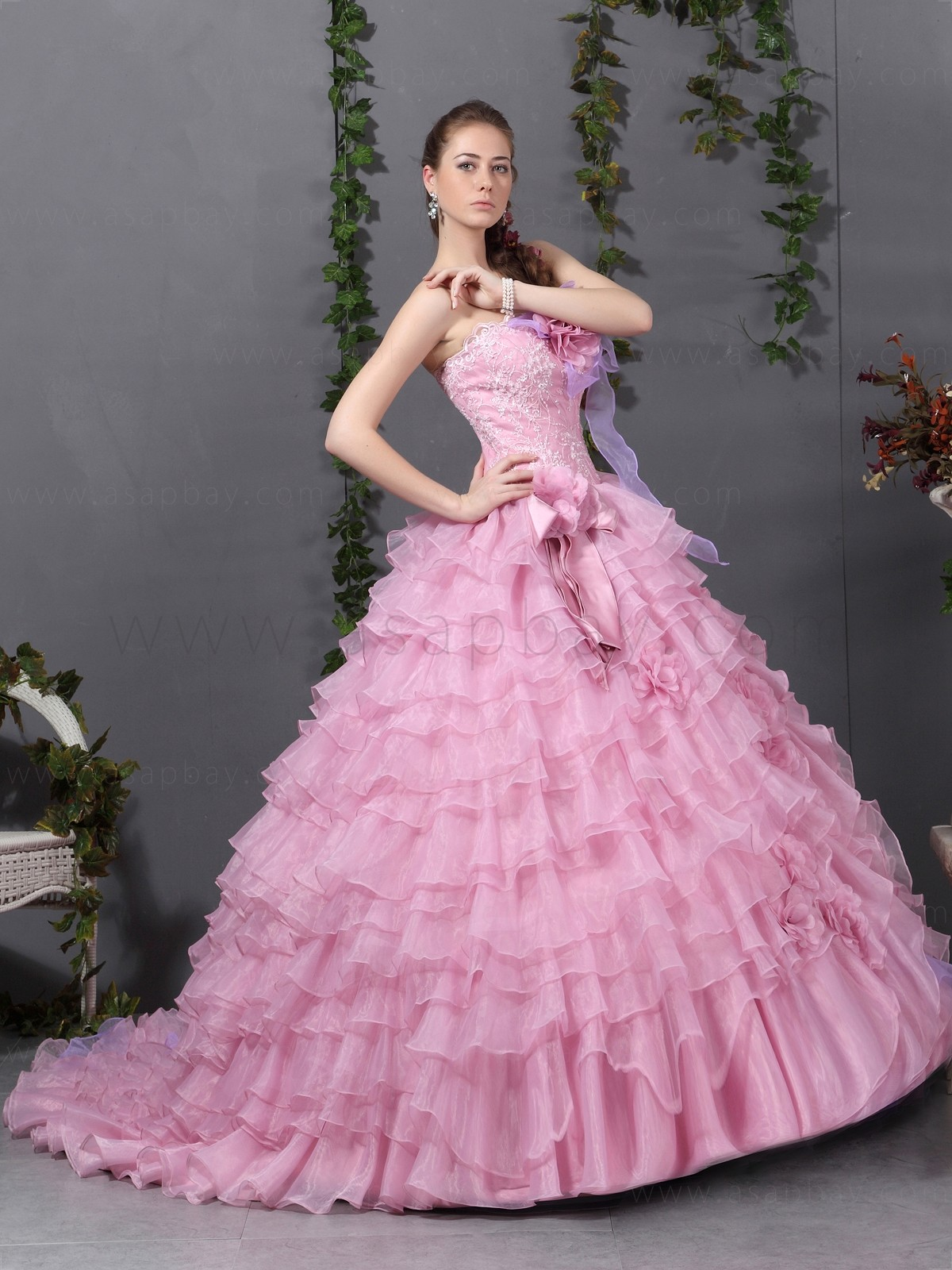Pinky pearl elegant pink ball gowns for Wedding ball gown dress