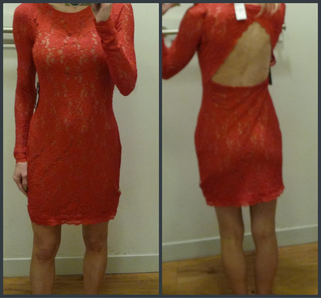 Express red lace open back sheath dress, holiday dress