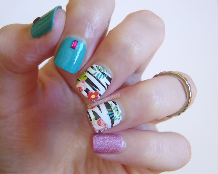 Skittlette Nail art floral Water decals Born Pretty Store