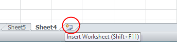 Insert Worksheet - Excel 2010 Screen
