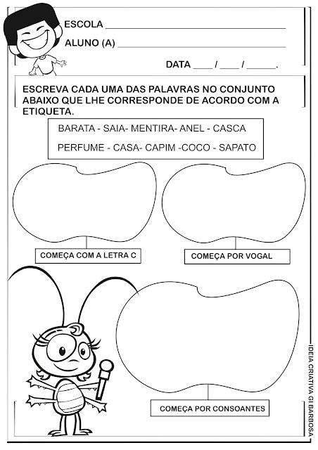 Atividade Alfabetização Galinha Pintadinha
