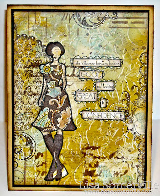 Mixed Media Card - Stamps from Art Gone Wild, Gelli Arts Plate and The Crafters Workshop Stencils used for Background