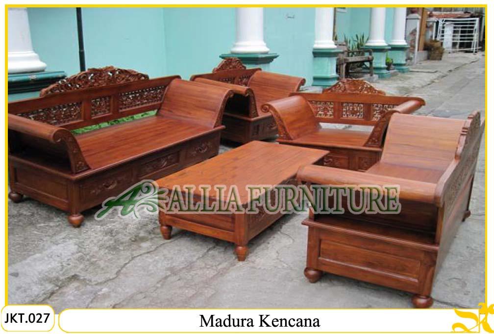 Set kursi &; meja tamu ukiran kayu jati madura kencana