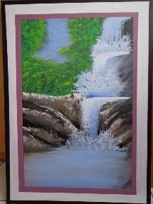 quadro pintado em acrilico,  CASCATA