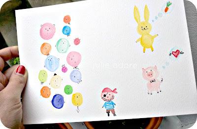 dessin naif enfant visages aquarelle neocolors caran d'ache lapin jaune cochon rose julie adore art drawing kids naive