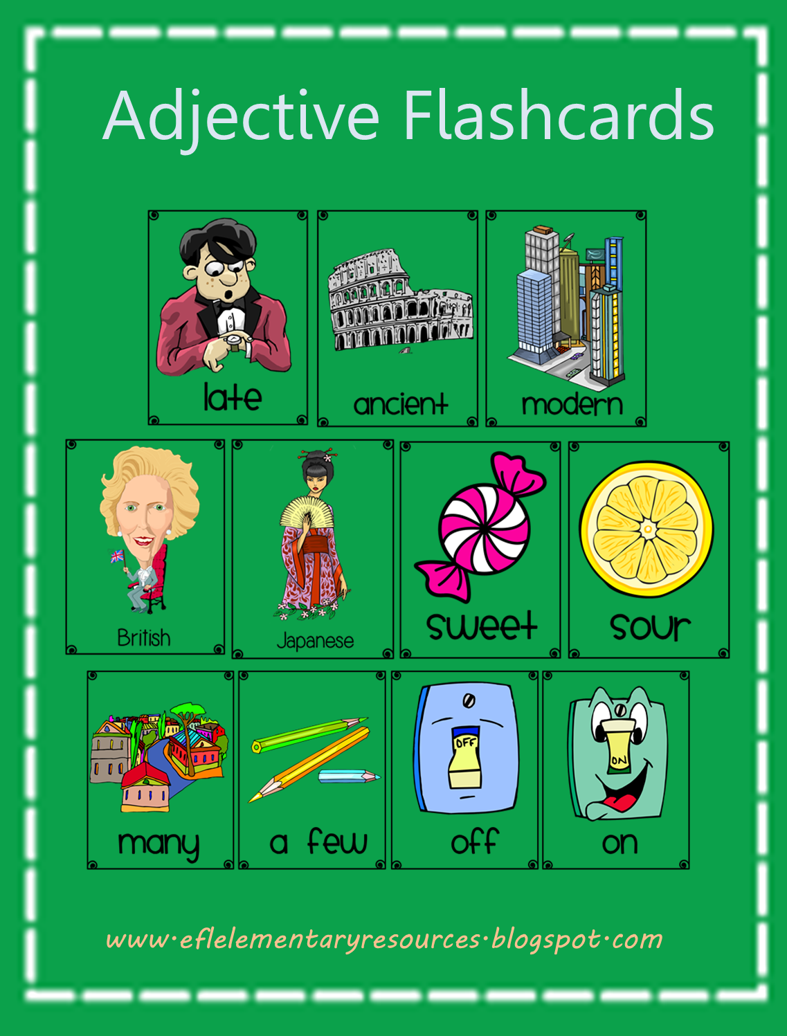 Worksheet Elementary Adjectives efl elementary teachers adjectives for ell flashcards i made a big collection of adjective it easy to classify them 101 there are f