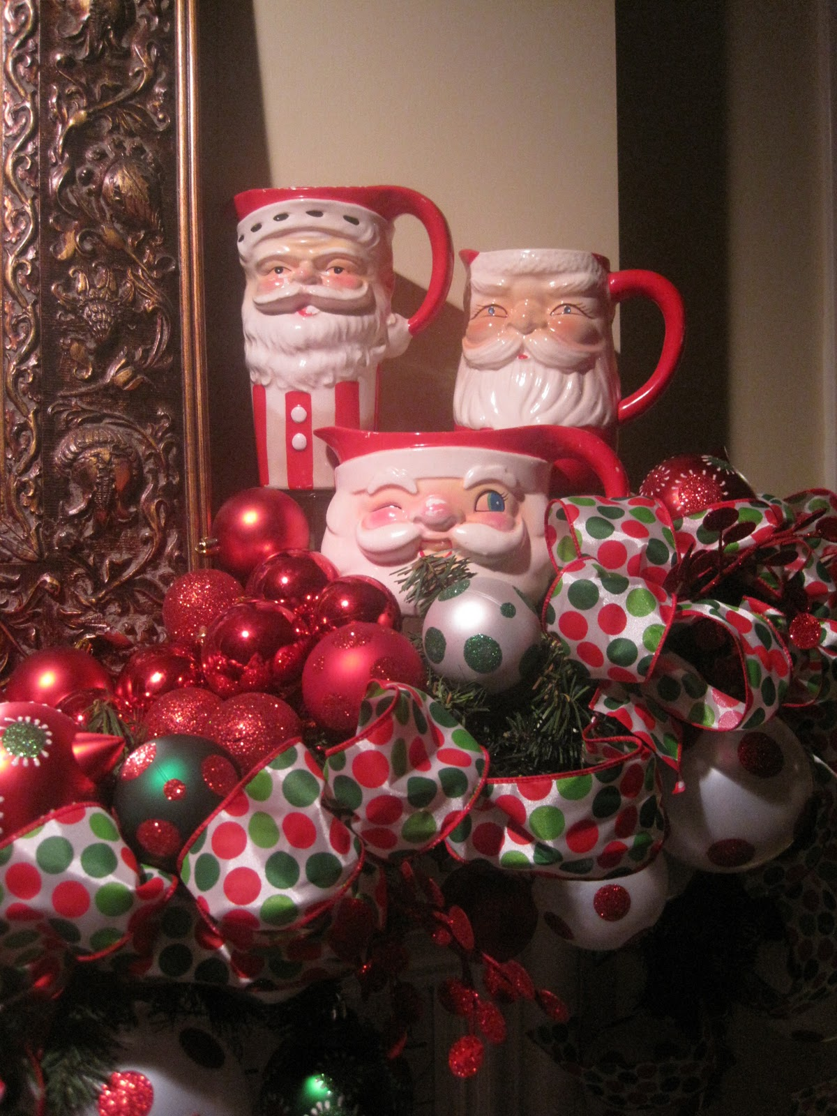Ornaments for loved ones lost - One Of The Mantels With My Collection Of Vintage Santa Pitchers Santa Mugs And Tons Of Ornaments Balls And Ribbon The Decorations In This Room Are More