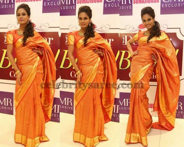 Model in CMR Silk Saree