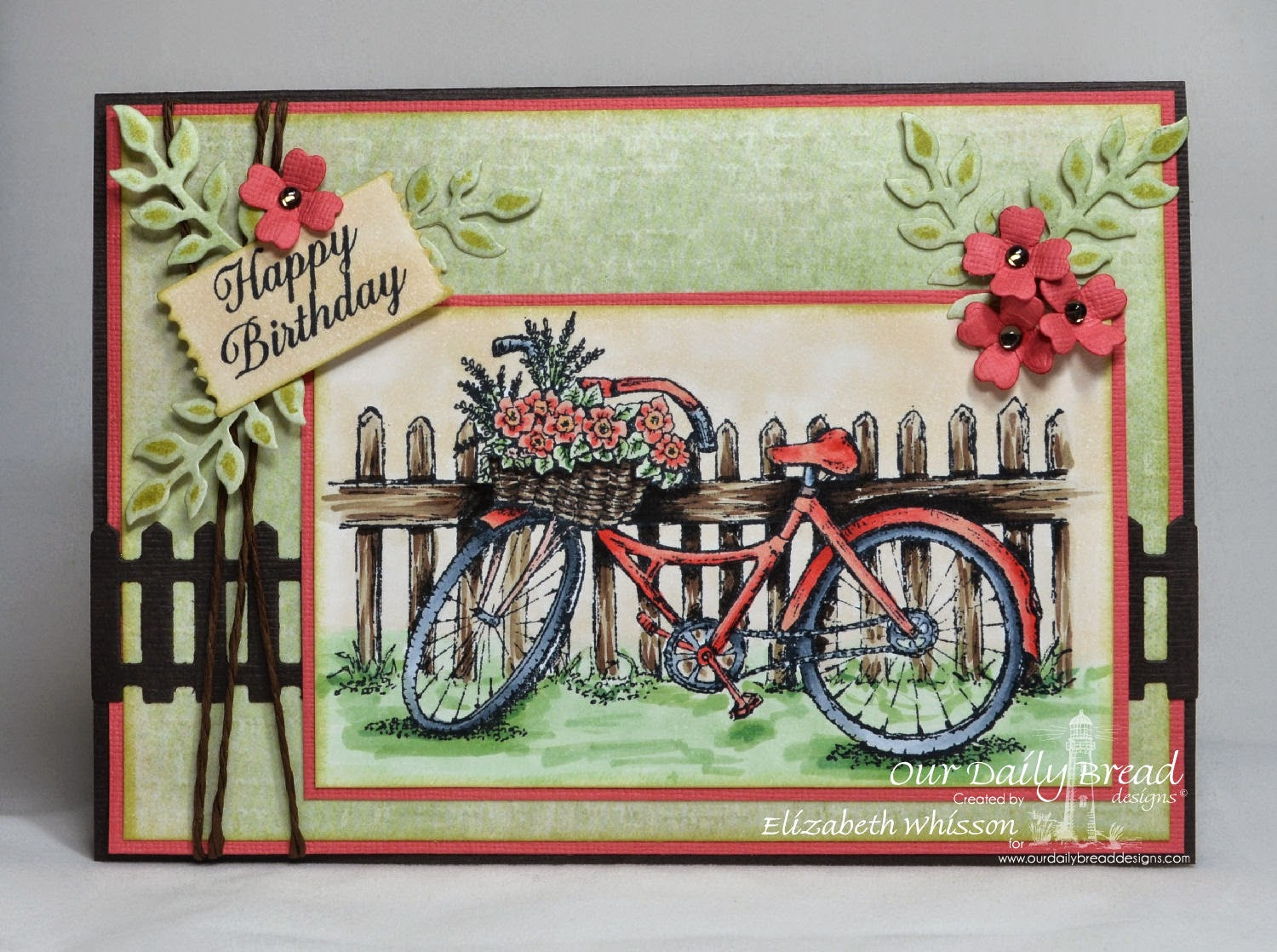 Our Daily Bread Designs, Bicycle, Ornate Border Sentiments, ODBD Fence Die, ODBD Mini Tag Dies, ODBD Ornamental Crosses Dies, ODBD Fancy Foliage Dies, Designed by Elizabeth Whisson, Copics, happy birthday, handmade card,