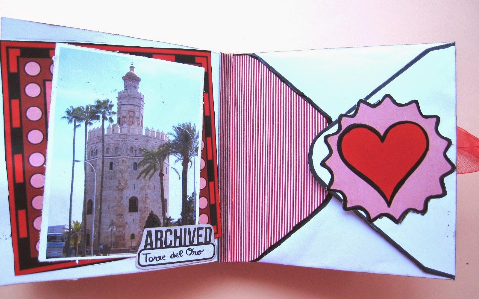 foto 2 decoración de scrapbookinkg del LOVE mini-álbum a la izquierda Torre del Oro de Sevilla y a la derecha solapa de sobre decorada con corazón y washi tape rojo y blanco