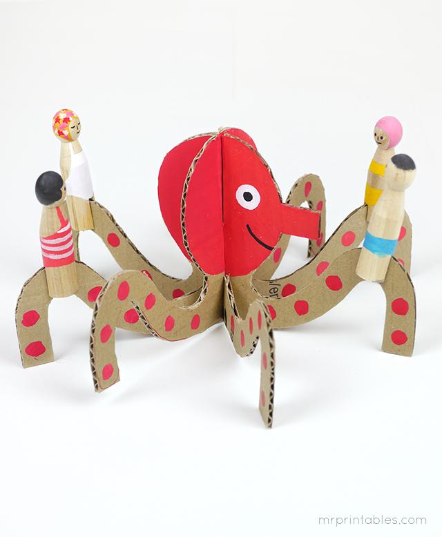 Decorar en familia: Animales marinos de cartón descargables10