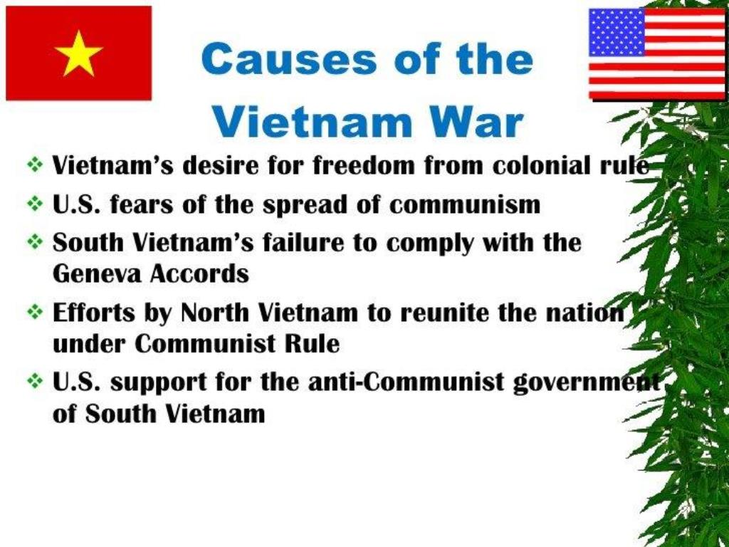 the two main causes of the vietnam war Find out more about the history of vietnam war, including videos, interesting articles, pictures following its 1945 defeat in world war ii.