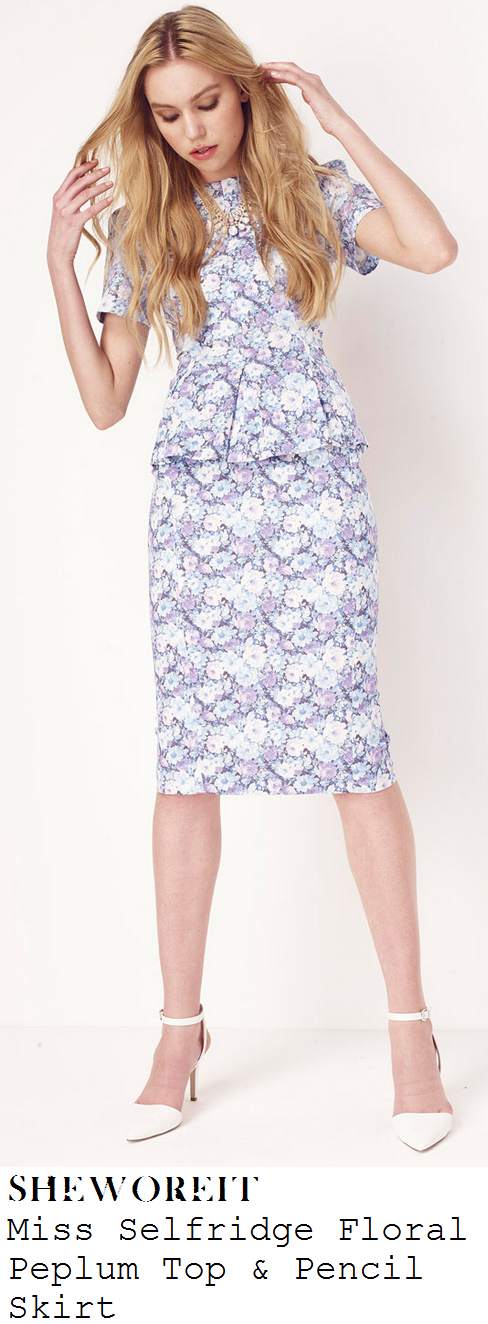 lydia-bright-blue-lavender-purple-grey-white-floral-print-short-sleve-peplum-top-and-pencil-midi-skirt