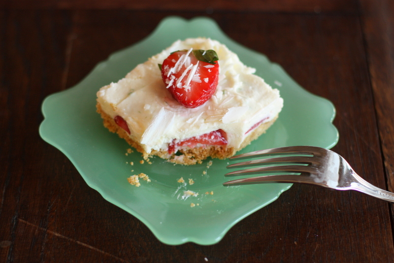 Half Baked: White Chocolate Strawberry and Lime Cheesecake Bars