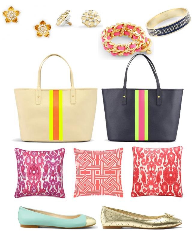 Pillows, totes, ballet flats, and jewelry from C. Wonder