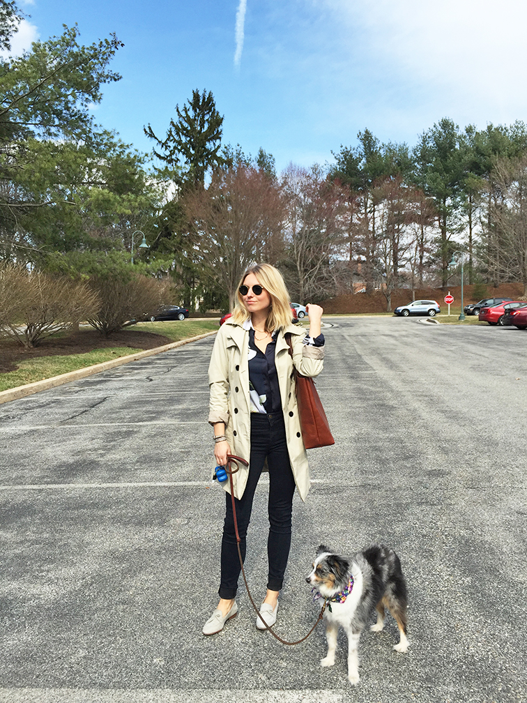 Fashion Over Reason Trench coat & loafers, JCrew, J Brand, Ray-Ban