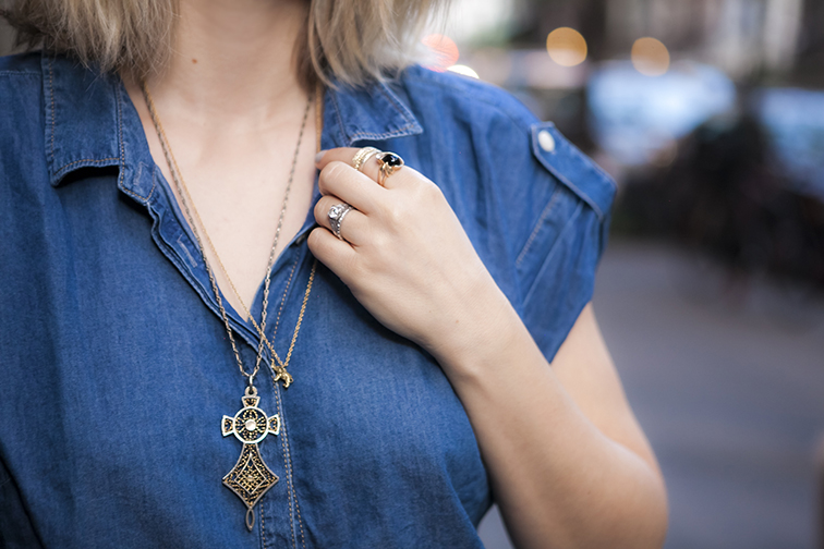 Layered gold jewelry, long vintage cross pendant, Verameat elephant chain, vintage stacked rings