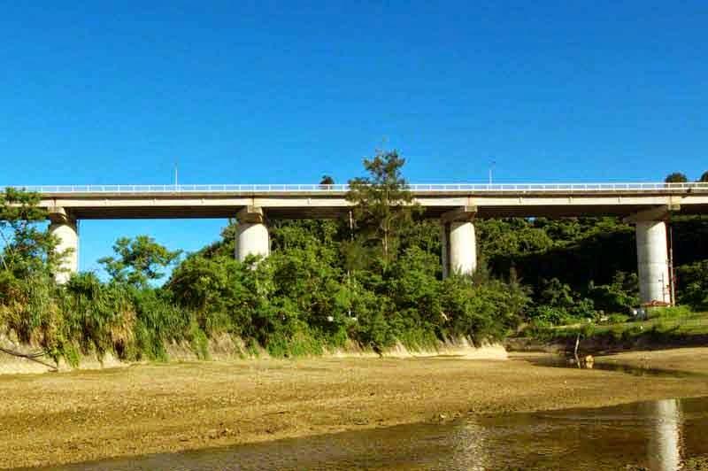 Bridge, river during low tide