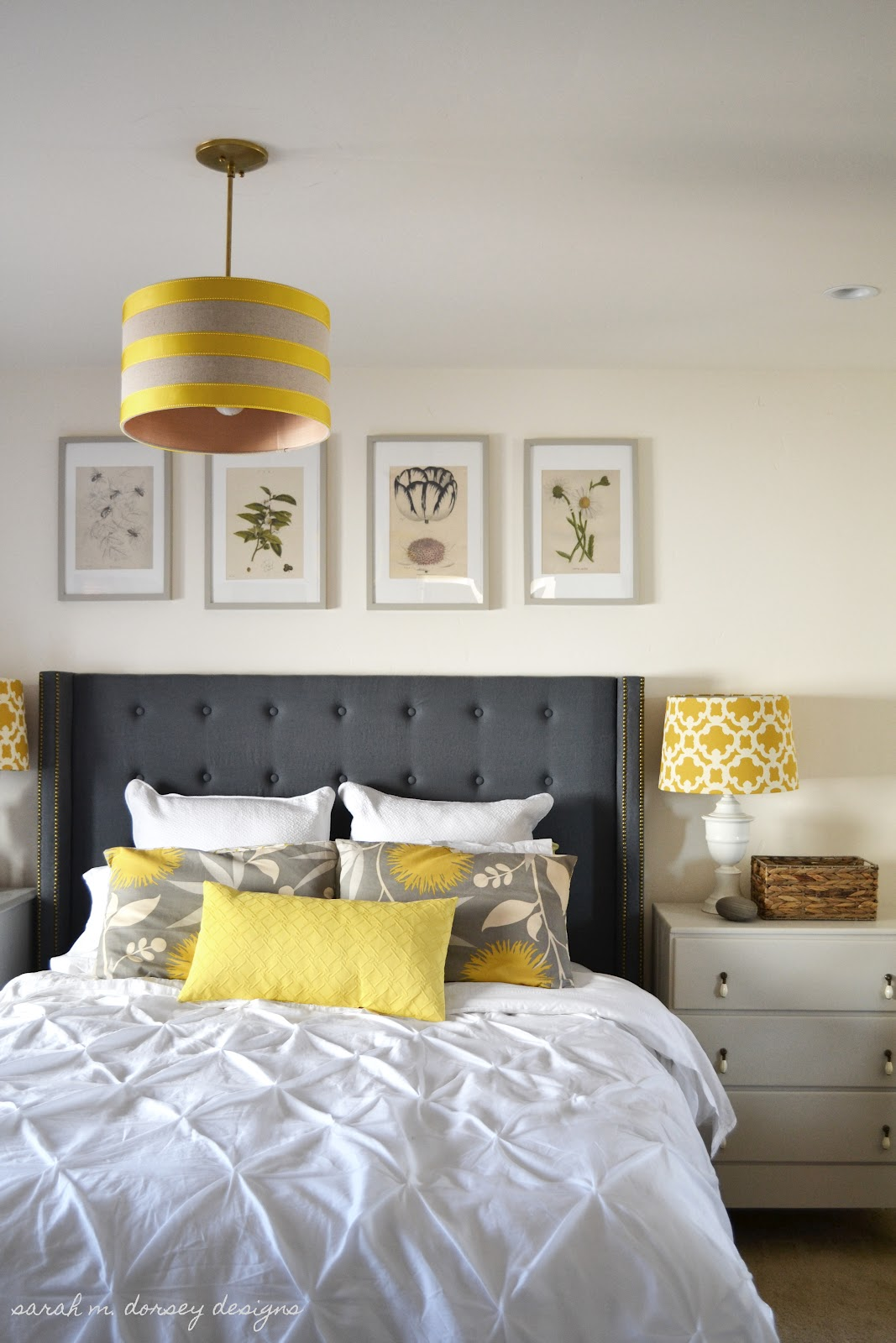 Sarah m dorsey designs art for above the headboard take 1 for Yellow grey bedroom designs