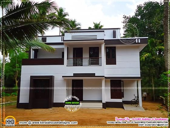 Modern finished house front view