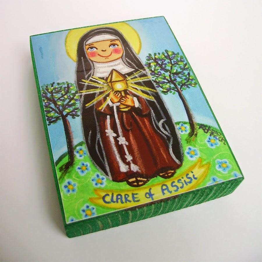 Drewniany obrazek obraz ilustracja święty święta Klara patron święci błogosławiona błogosławiony dla dziewczynki chłopca chłopczyka dziecka prezent upominek na gwiazdkę ozdoba dekoracja bożonarodzeniowa świąteczna Jezus Chrystus Matka Boska Różańcowa różaniec Maryja dziecko pamiątka chrztu chrzest pierwsza bierzmowanie komunia narodziny urodziny