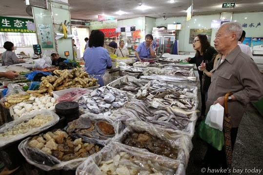 Fish at a wet market photograph