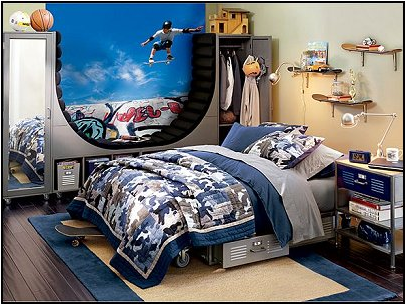 Teen boys sports theme bedrooms room design ideas for Boy s bedroom ideas