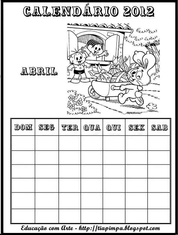 Calendário de 2012 para Imprimir e Colorir , calendário 2012 para ...