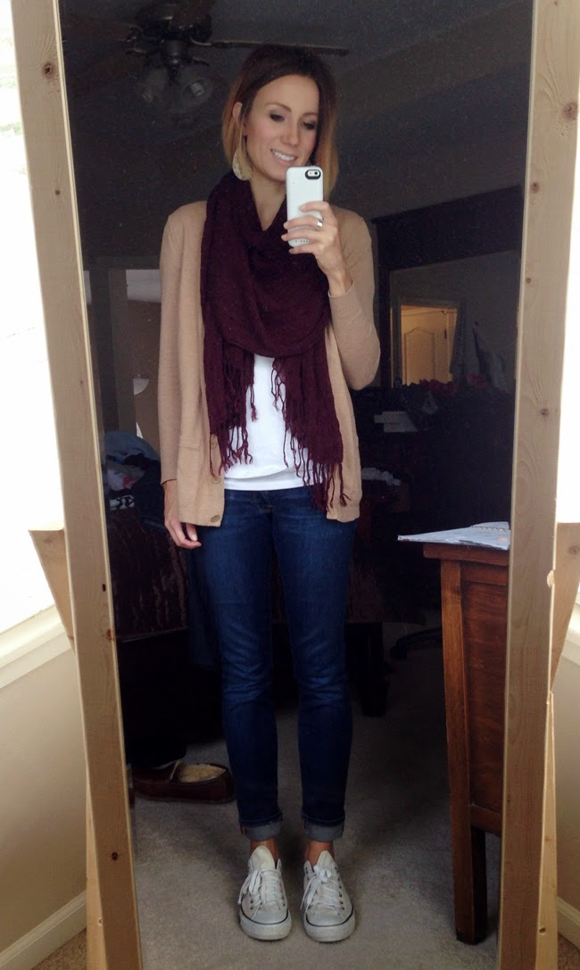 Maroon scarf, camel cardigan and dark denim
