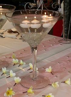Centros de mesa con copas de cristal y velas azules auto - Mesas de centro de cristal ...