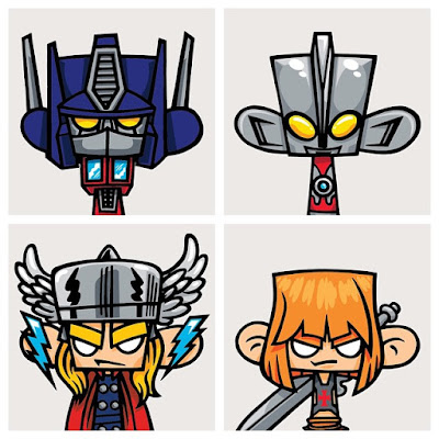 Mad*l Characters Print Series Batch 5 by MAD - Transformers' Optimus Prime, Ultraman, Marvel's Thor & Masters of the Universe's He-Man