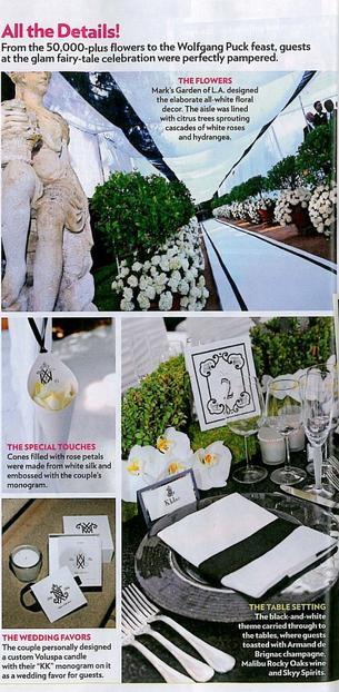 A mesa e a decoração do casamento e Kim Kardashian