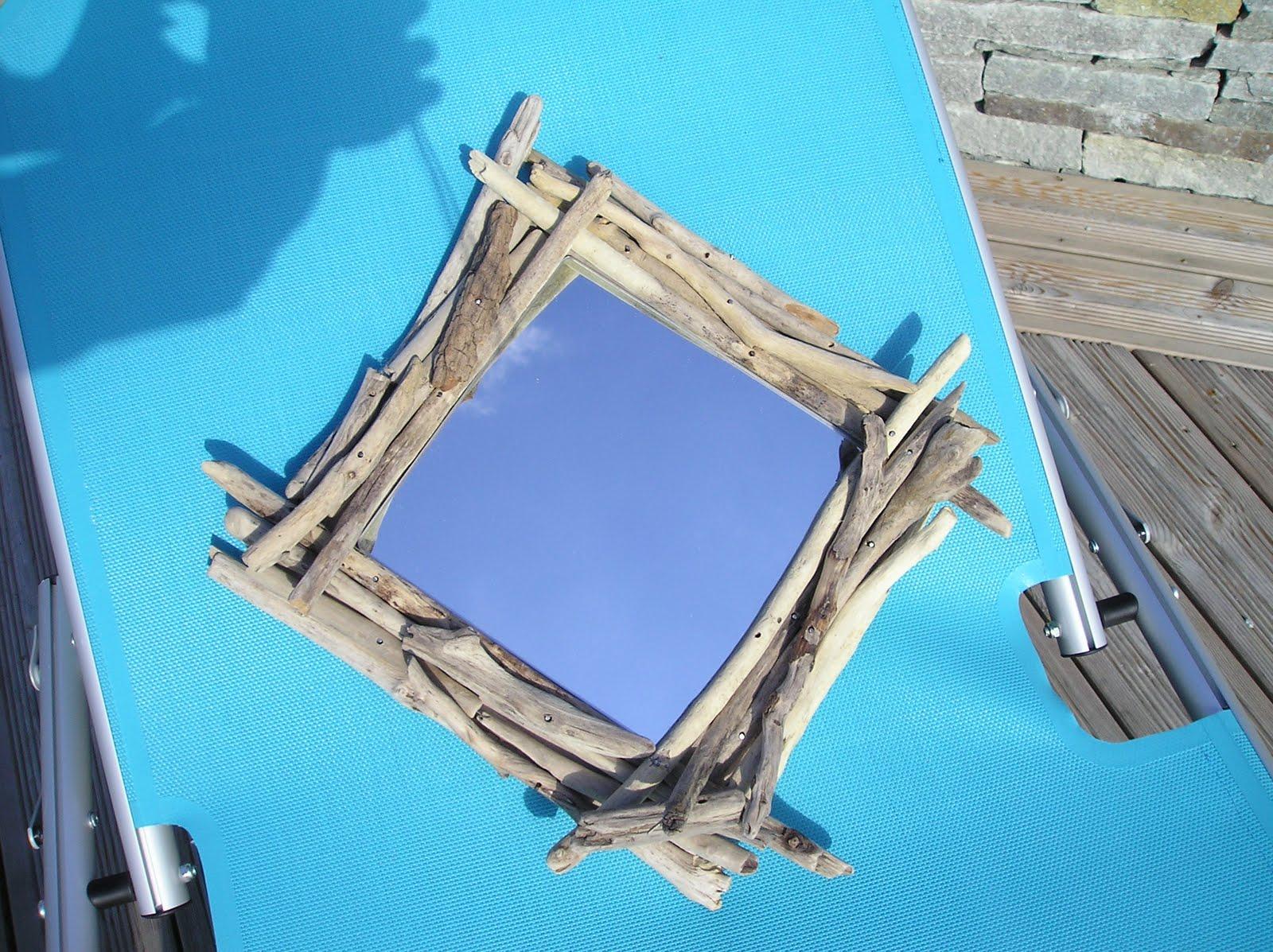 Art d co bois flott cr ation miroirs en bois flott for Miroir cadre bois flotte