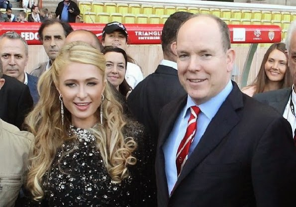 Prince Albert Of Monaco Chats With Paris Hilton At Stade Louis II In Monaco
