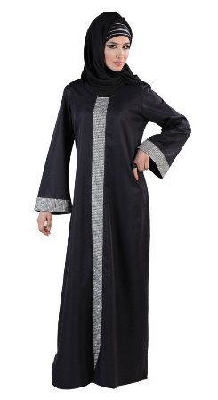Black-Abaya-with-Silver-Accents
