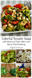 Colorful Tomato Salad with Hearts of Palm, Mint, and Spicy Thai Dressing [from KalynsKitchen.com]