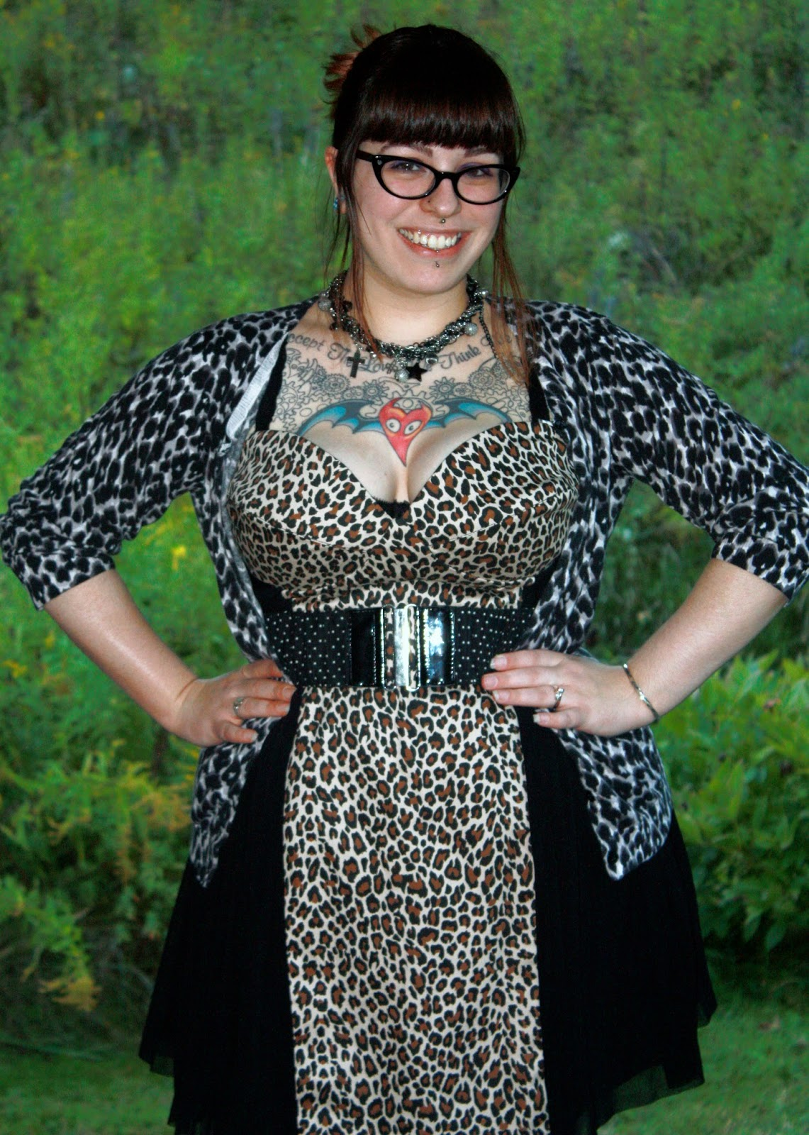 asos, leopard print, target, cardigan, dress, kohls, goodwill, beyond the rack, spiked heels, ootd, outfit of the day, fatshion, leopard print dress, leopard print boots, moth tattoo, vermont