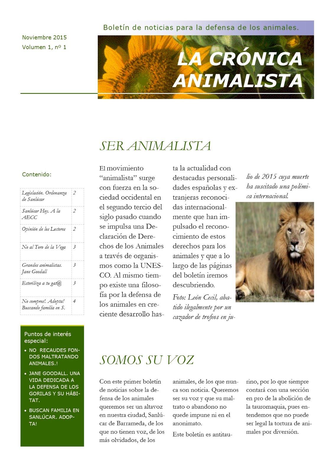 La Crónica Animalista. Boletín para la defensa de los animales.