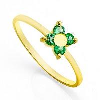 Anel em Ouro e Flor solitária de Esmeralda