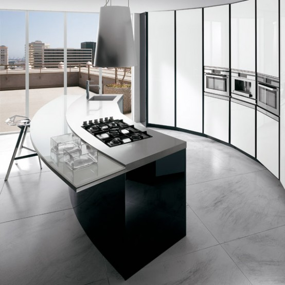 luxury modern black and white kitchen decoration