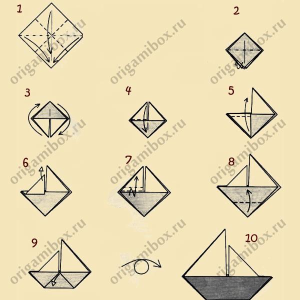 схема оригами. Парусник