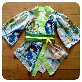 Girl's kimono in anime fabric