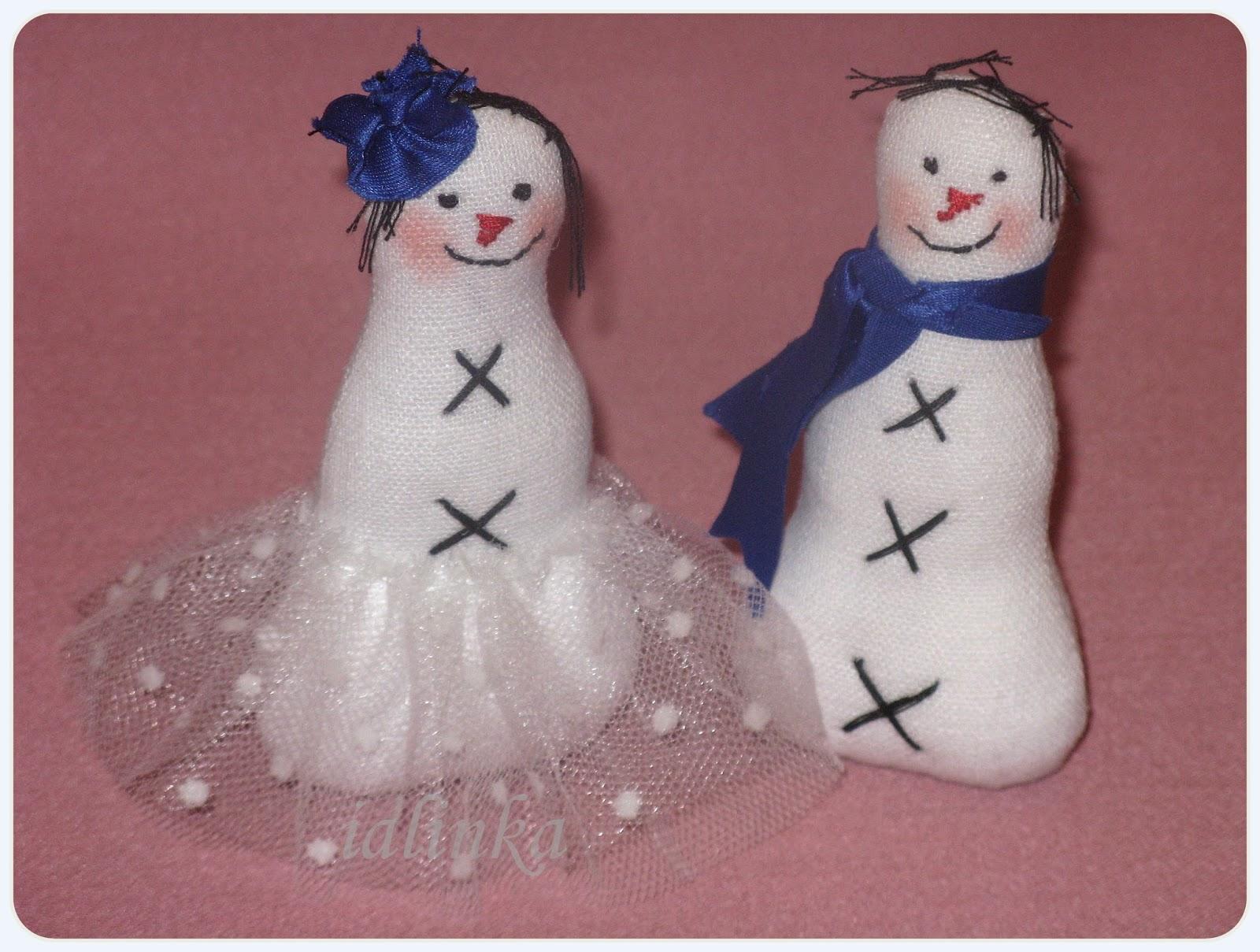 снеговики  hand  made игрушки  на  елку  своими  руками