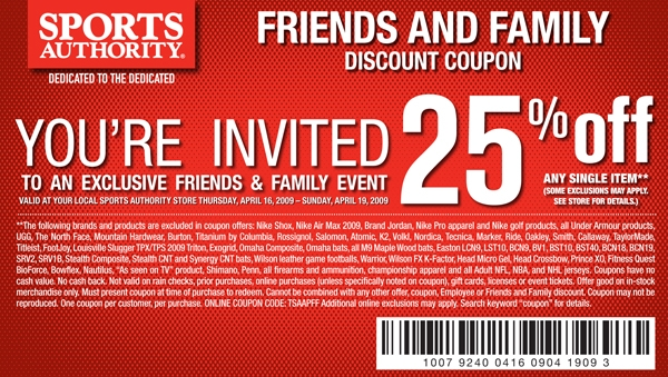 Case in point would be a common Sports Authority coupon: 25% off sounds like