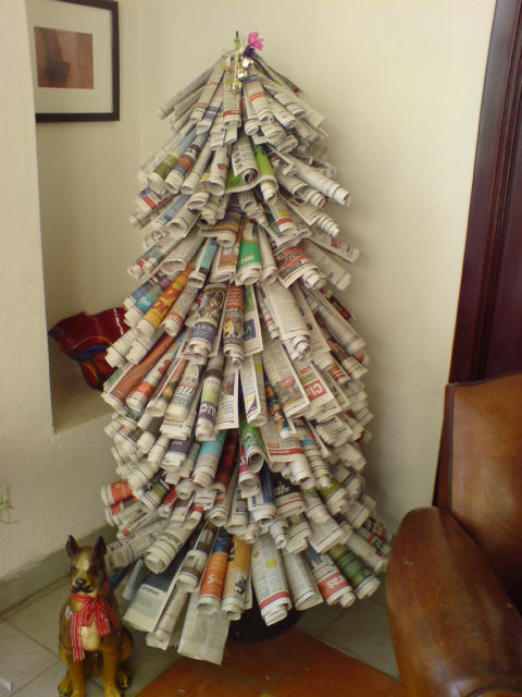 bizarre christmas tree mountain dew, newspaper rolls