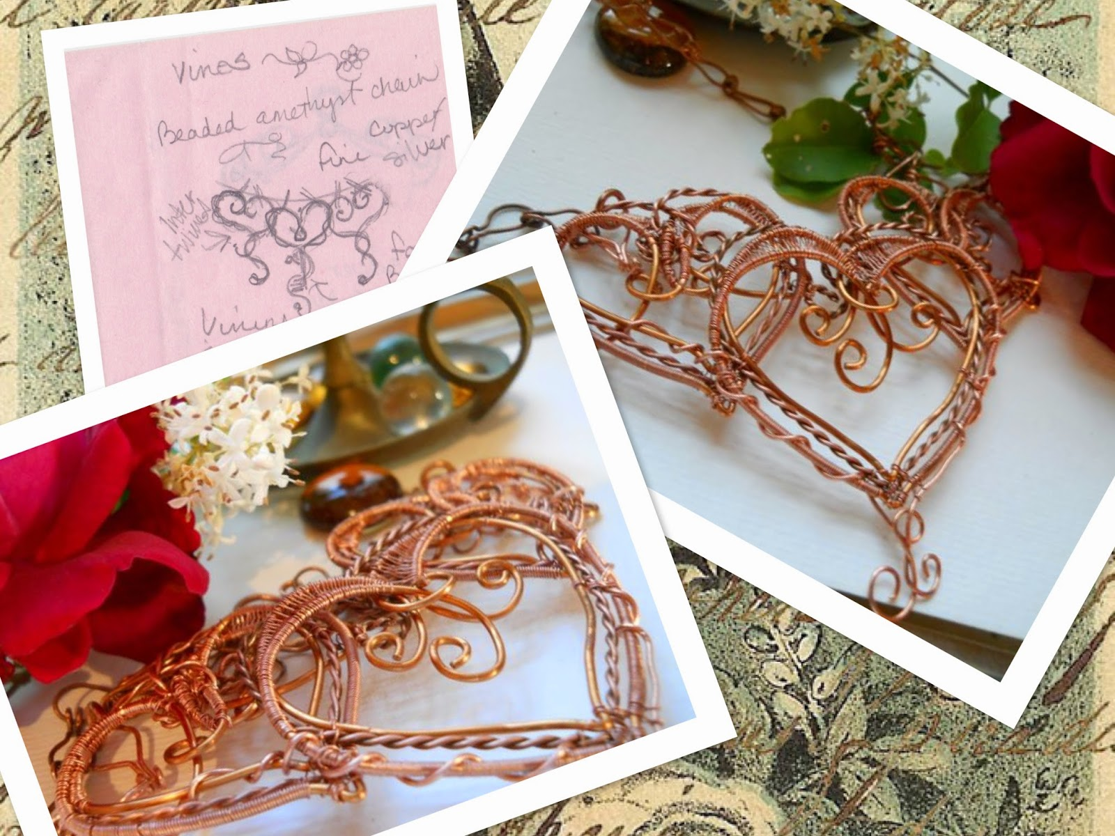 Three Copper Hearts Necklace