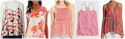 Apt 9 Georgette Camisole $14.99 (regular $22.00) there are lots of different prints and solids available  Liz Claiborne Short Sleeve Floral Print Ruched Top w/ Cami $21.60 (regular $36.00)  Old Navy Floral Crinkle Chiffon Cami $24.00 (regular $26.94)  J. Crew Factory Printed Racerback Camisole $34.50 (regular $54.50)  Hale Bob Reptile Print Silk Tank $69.99 (regular $172.00)