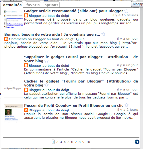 affichage des dernières publications grâce à l'extension pour blogger blogspot