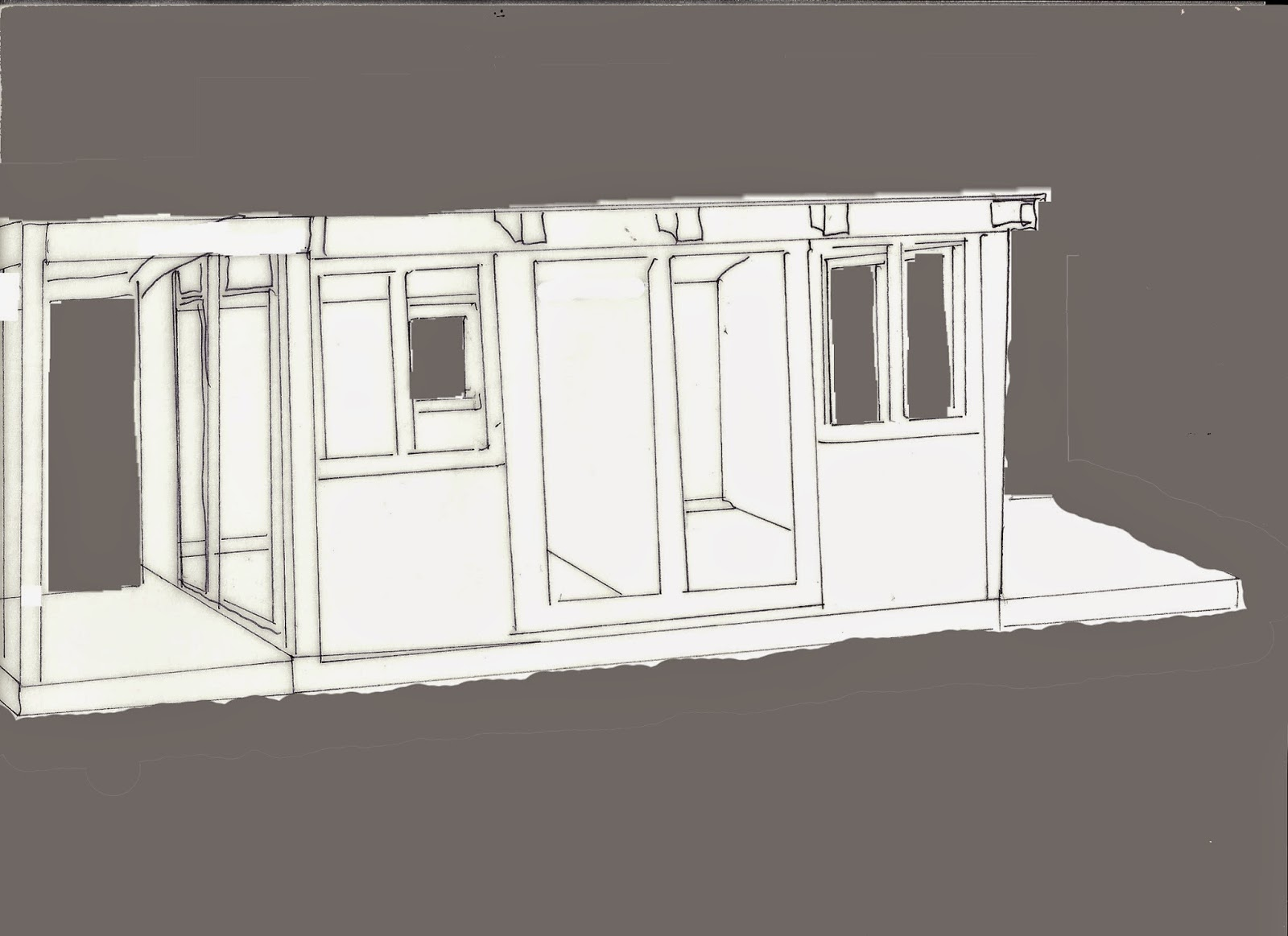 Outline of a shed split down the middle ,with two long windows and two short windows on the front and a deck on each side. The background is coloured grey to show placement of windows and doors at the side and rear.